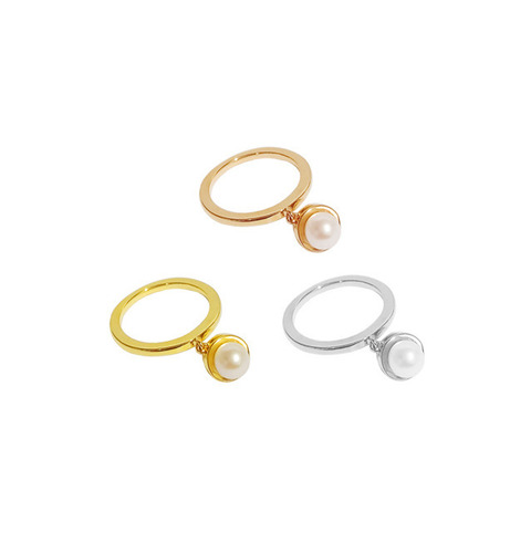 ┃GOLD PHILOSOTHY┃ PEARL CHARM RINGIN 3 COLORS