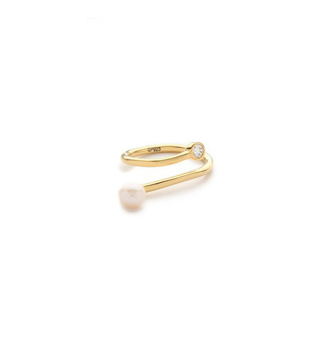 ┃GOLD PHILOSOTHY┃PEARL TWIST CURVE RINGIN GOLD