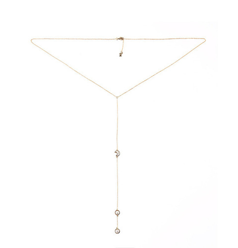 ┃GOLD PHILOSOTHY┃ CRESCENT LARIAT NECKLACEIN GOLD