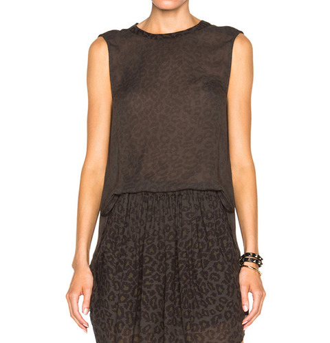 [RAQUEL ALLEGRA]LEOPARD PRINTED SLEEVELESS TOPIN FERN