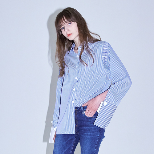 ┃HACER SEOUL┃ 17 SPRING BUTTON BOXY SHIRTSwhite,blue stripe