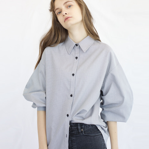 ┃HACER SEOUL┃ 17 FALL ROUND SLEEVE SHIRTgrey check