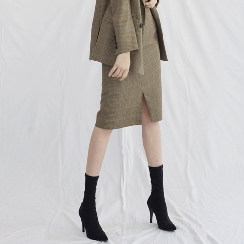 ┃HACER SEOUL┃ 17 FALL FRONT SLIT SKIRTbeige check