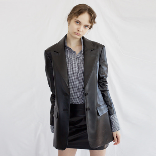 ┃HACER SEOUL┃ 17 FALL LEATHER OVERSIZED JACKETblack