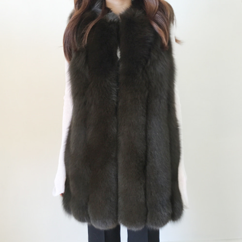 ┃FROU EDITION┃  FULL SKIN FOX VESTblack,khaki brown