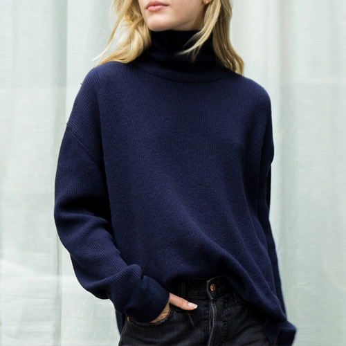 ┃NANUSHKA┃ MOTTA KNIT TURTLENECK SWEATERnavy
