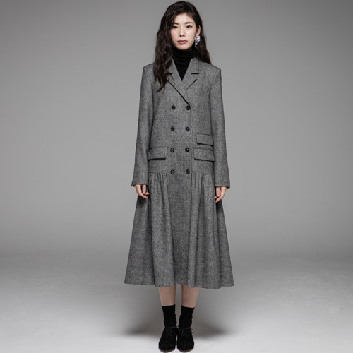 ┃JO5┃ LONG DRESS JACKETgrey hound tooth check