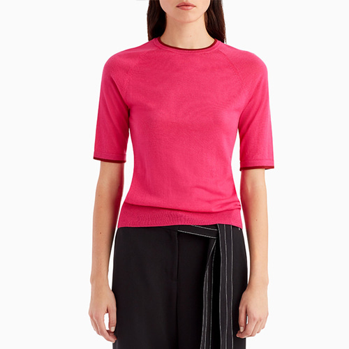 ┃GREY JASON WU┃ SHORT SLEEVE KNIT TOP WITH CONTRAST COLLARpink