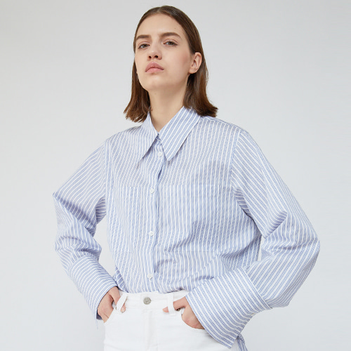 ┃HACER SEOUL┃ 18 SPRING COTTON COLLAR SHIRTSblue stripe