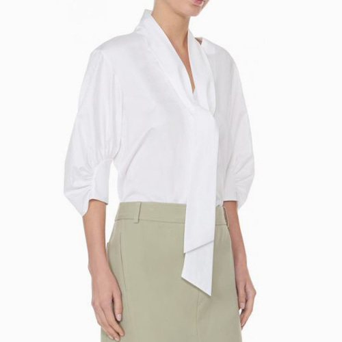 ┃TIBI┃ SATIN POP TIE NECK TOPwhite