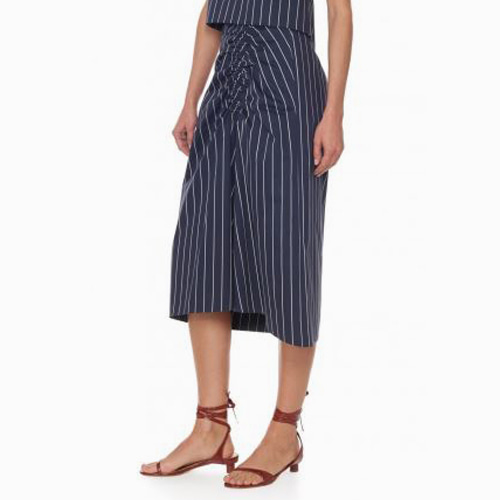 ┃TIBI┃ SATEEN STRIPE SKIRTivory,navy