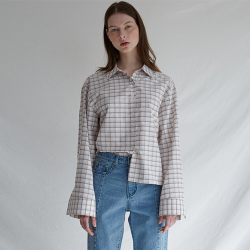 ┃MAISON MARAIS┃ FOLDED BUTTON SHIRTSblue, check