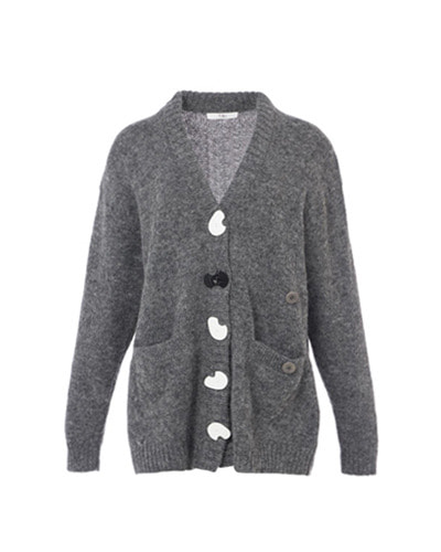 TIBI alpaca oversized cardigan heather grey