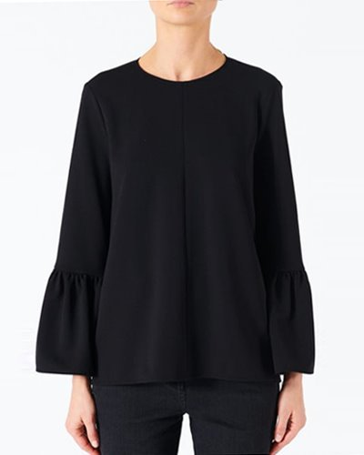 TIBI structured crepe ruffle sleeve top  black