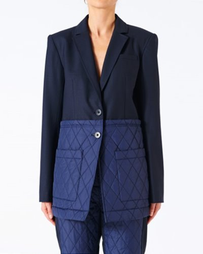 TIBI quilted combo oversized blazer navy