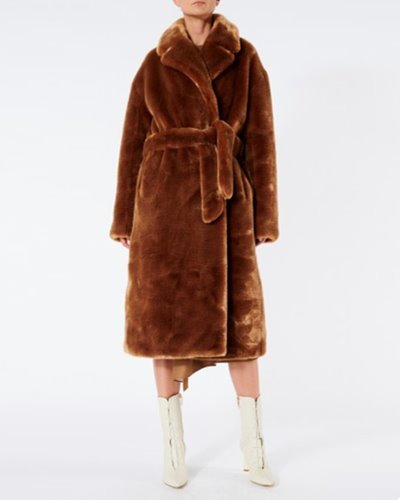 TIBI luxe faux fur oversixed coat  cocoa brown