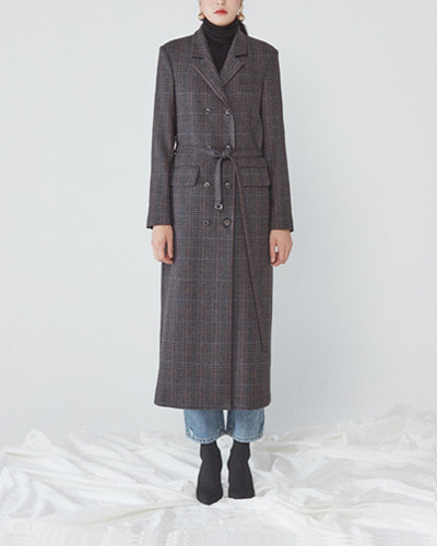 JO5 long jacket brown check