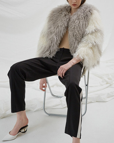 BLUSHED lamb fur jacket  grey,white
