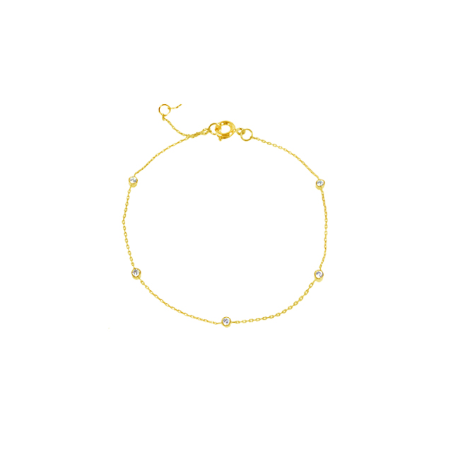 [TAI]SIMPLE CHAIN BRACELET WITH 5 MINI CUBICIN GOLD