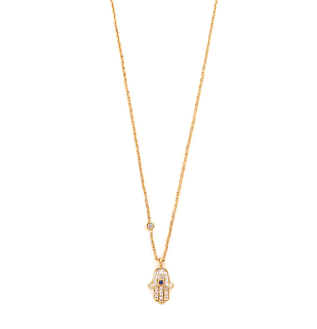 [TAI]SIMPLE CHAIN NECKLACE WITH CZ HAMSA CHARMIN GOLD