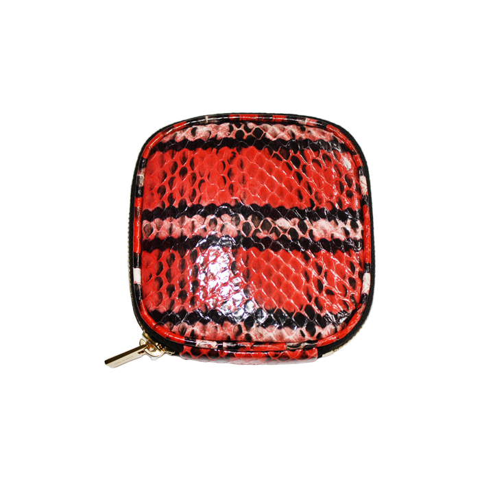 [VITA FEDE]SNAKESKIN JEWELRY TRAVEL POUCH GOLDIN RED/BLACK/WHITE