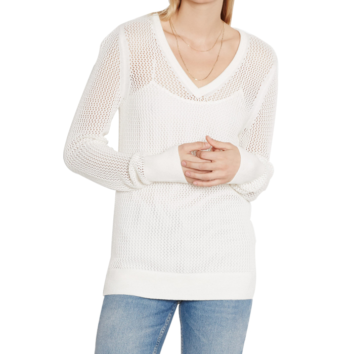[EQUIPMENT]CECILE V-NECK SWEATERIN IVORY